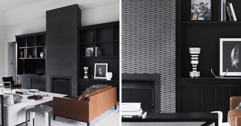 The Tiles On This Fireplace Surround Give It The Appearance Of A Woven Pattern