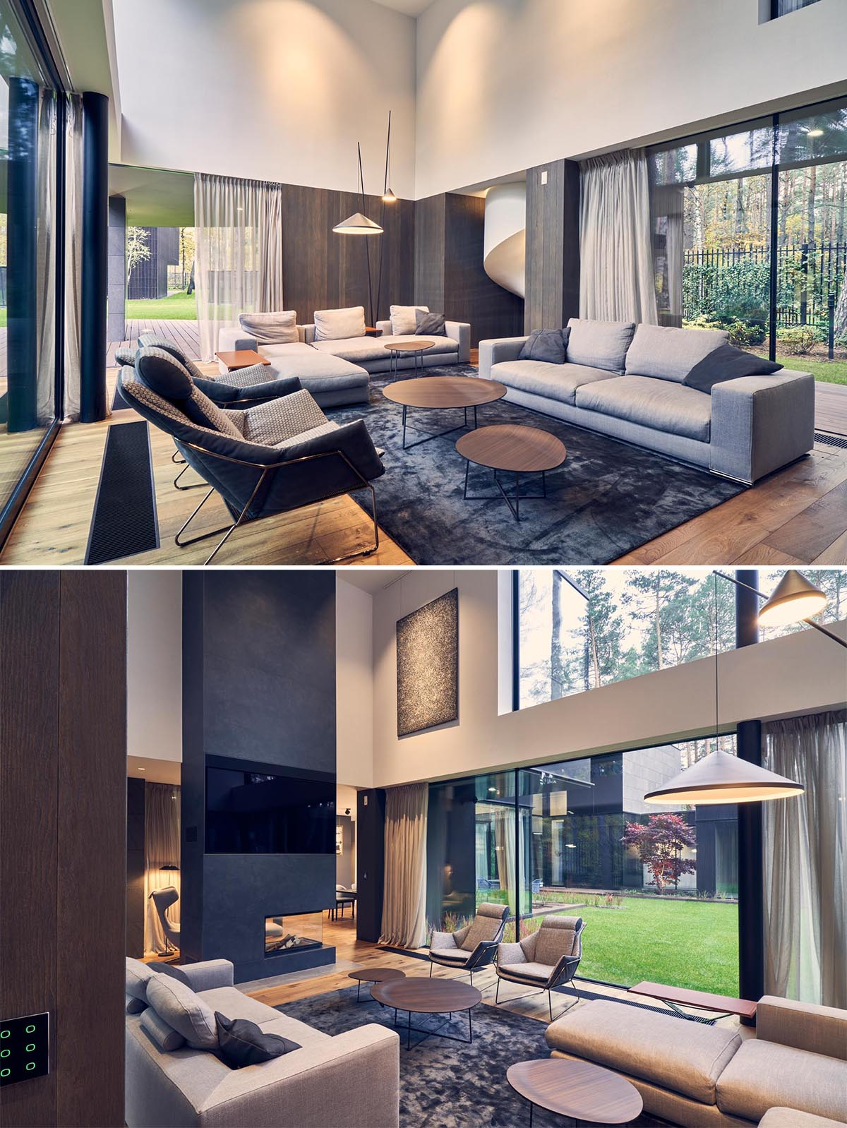 The interior of this modern home, like in the living room, showcases warm wood floors, expansive windows, and a double height ceiling.