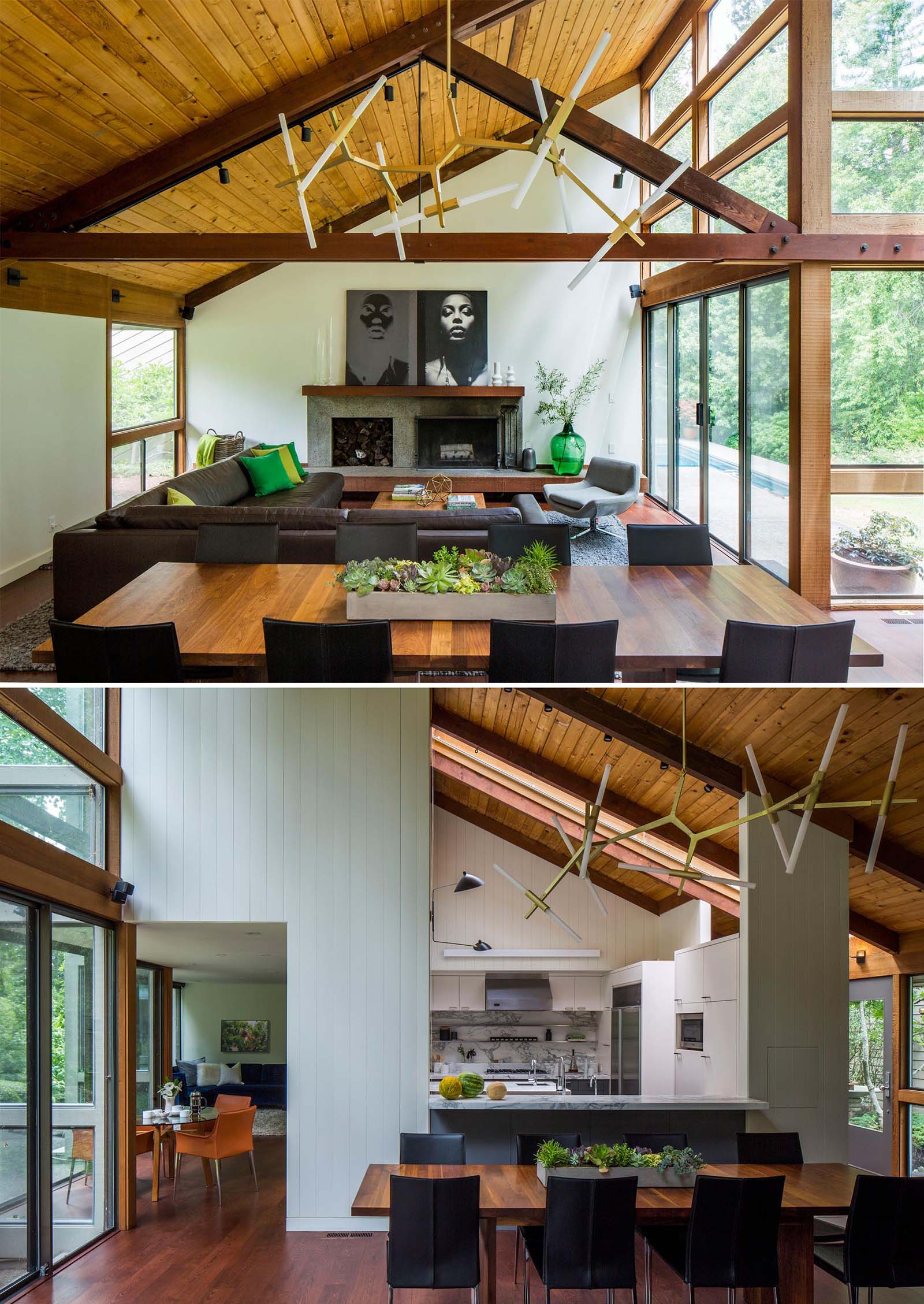 A modern open plan living room and dining room with high ceilings and plenty of natural light.
