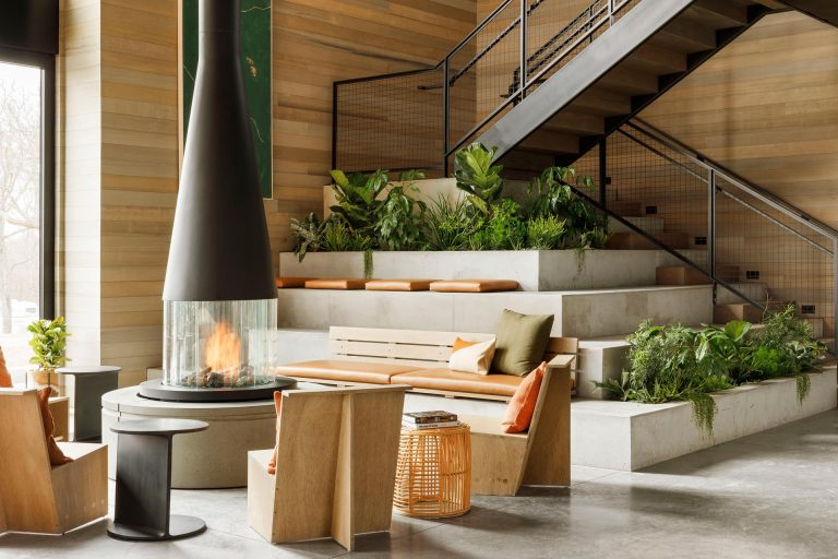 Tiered Seating With Built-In Planters Was Designed For The Base Of These Stairs