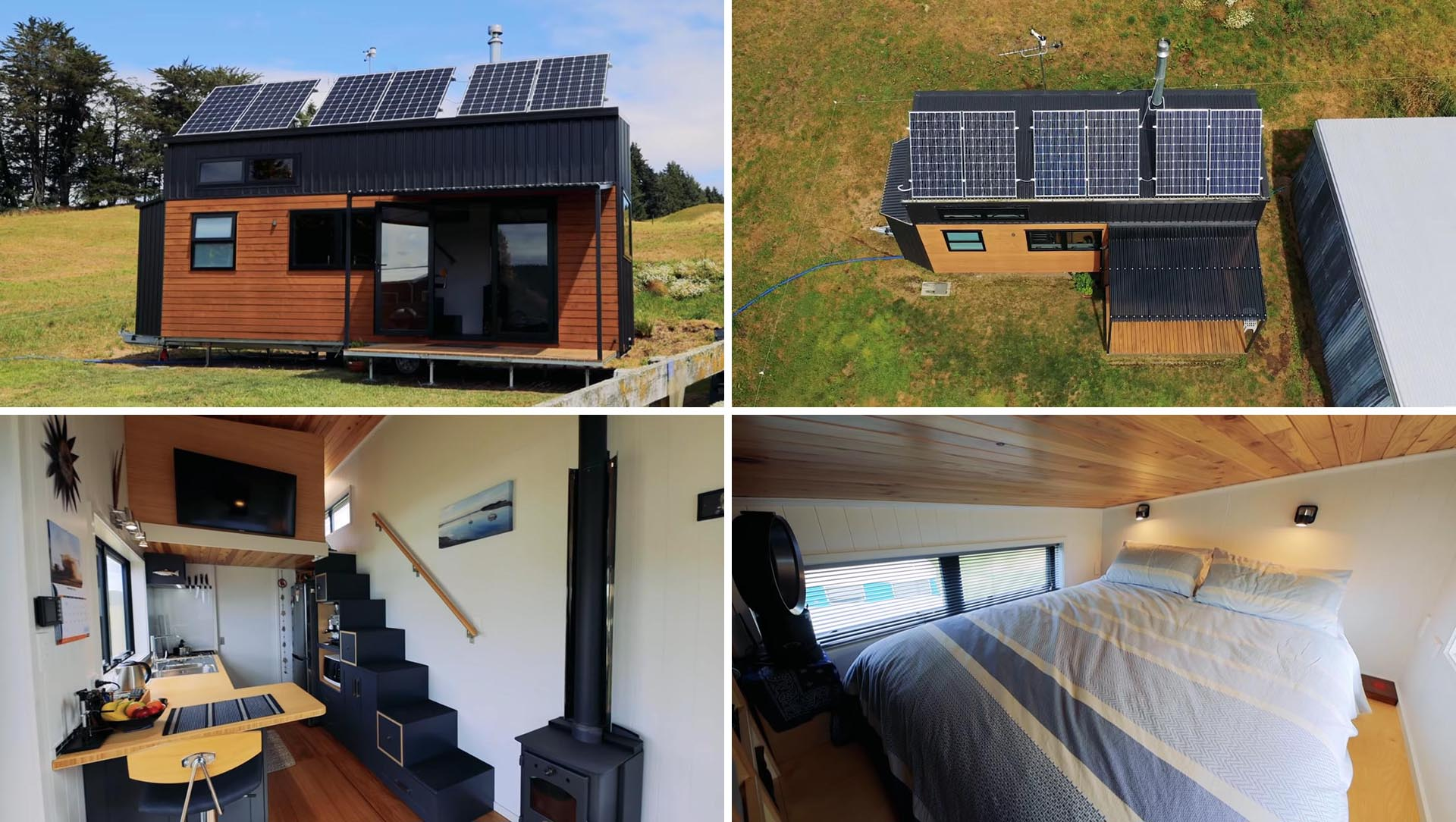 A modern tiny home with solar panels, rainwater collection, and an interior with living room, kitchen, bathroom, and bedroom.