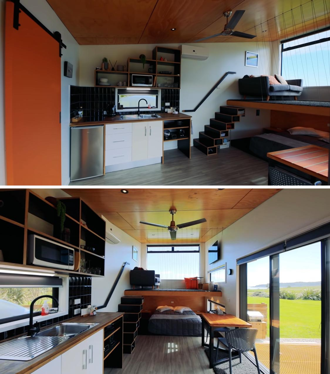 This modern tiny home has a small kitchen, a bathroom, a lofted living room, and an open sleeping area.