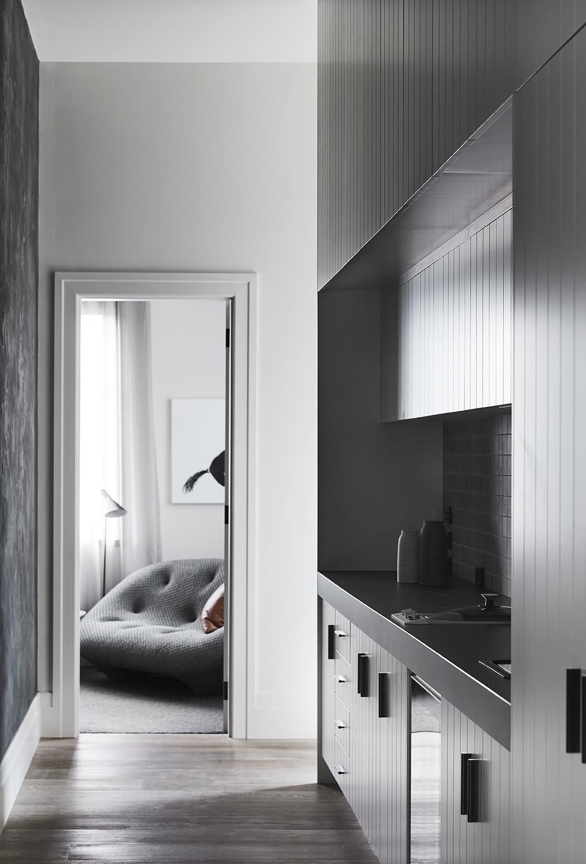 A modern walk-in closet.