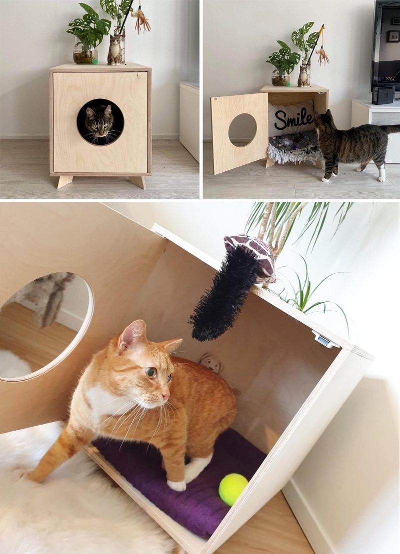 This modern wood litter box cover provides a stylish place for your cats and doubles as a convenient side table.