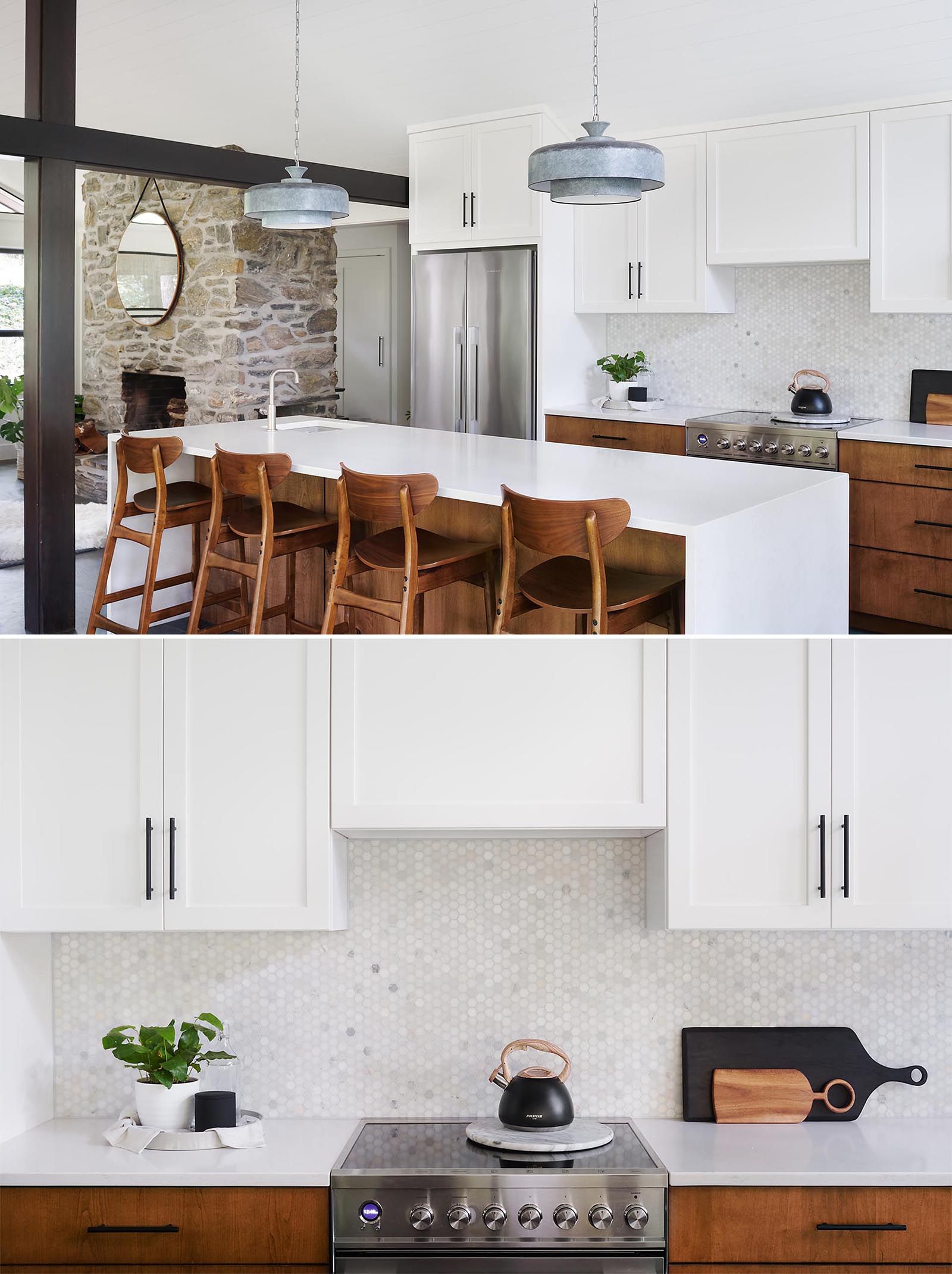 A modern kitchen with a large kitchen island provides ample countertop space, while the upper cabinets have a simple shaker style with black hardware.
