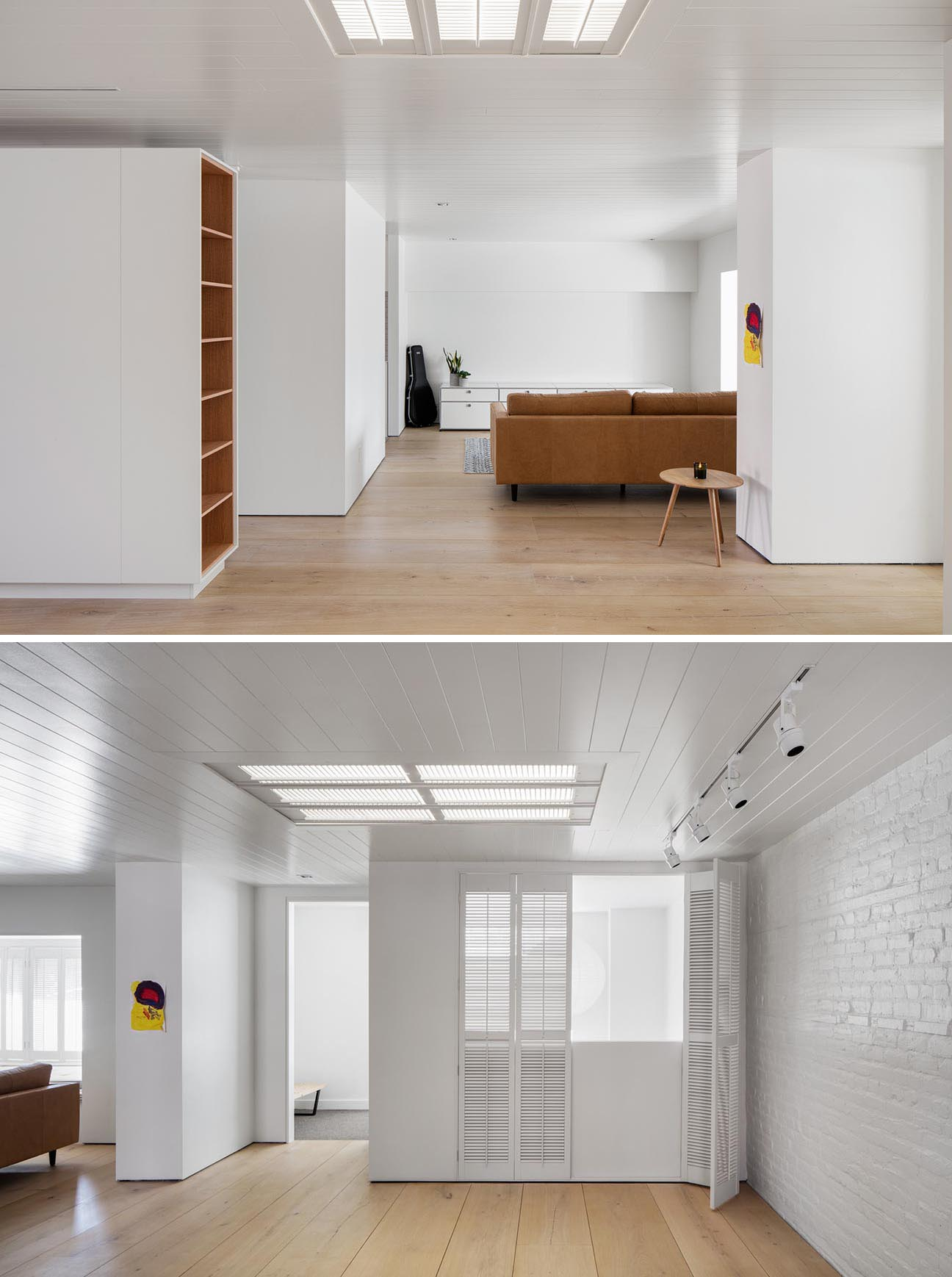 A modern photography agency with white walls, wood floors, and painted brick.
