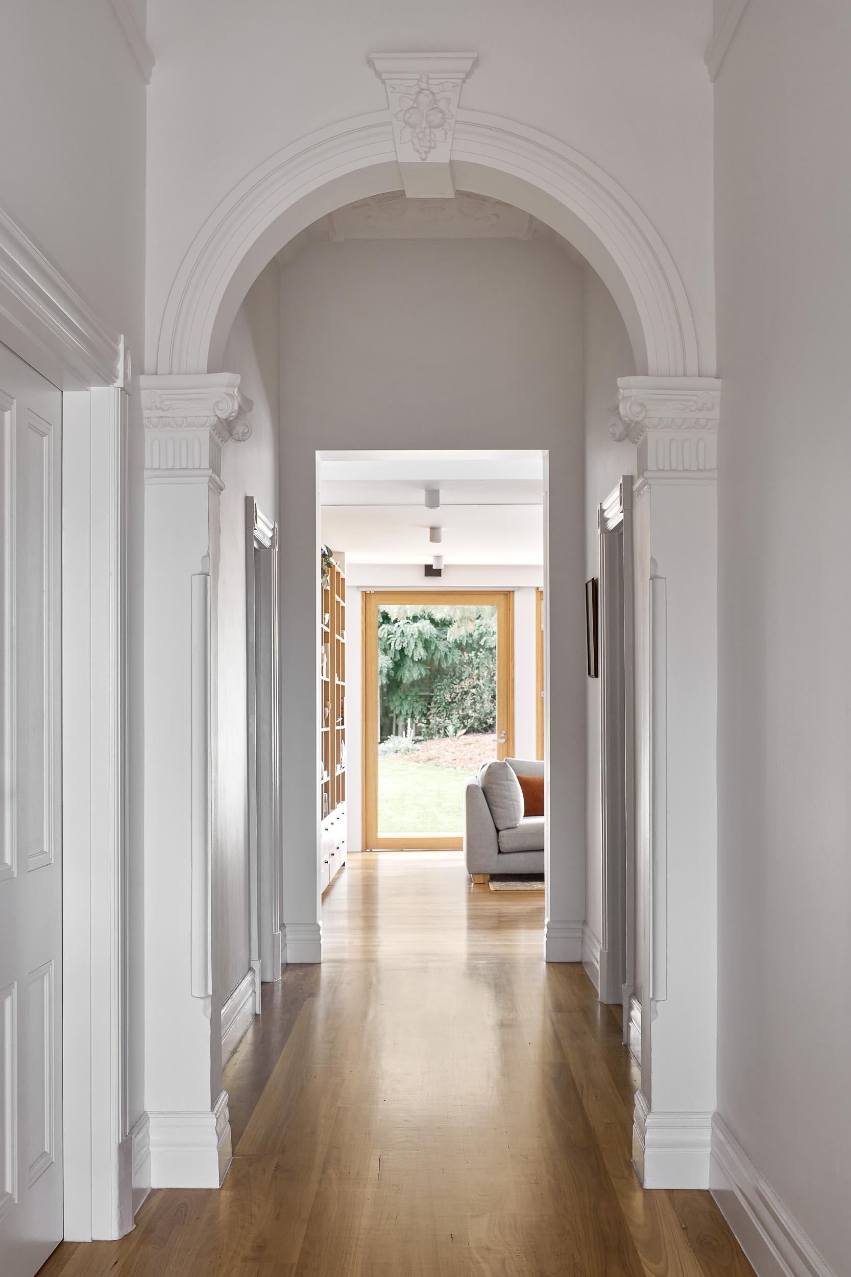 A renovated home retains some of the original details.