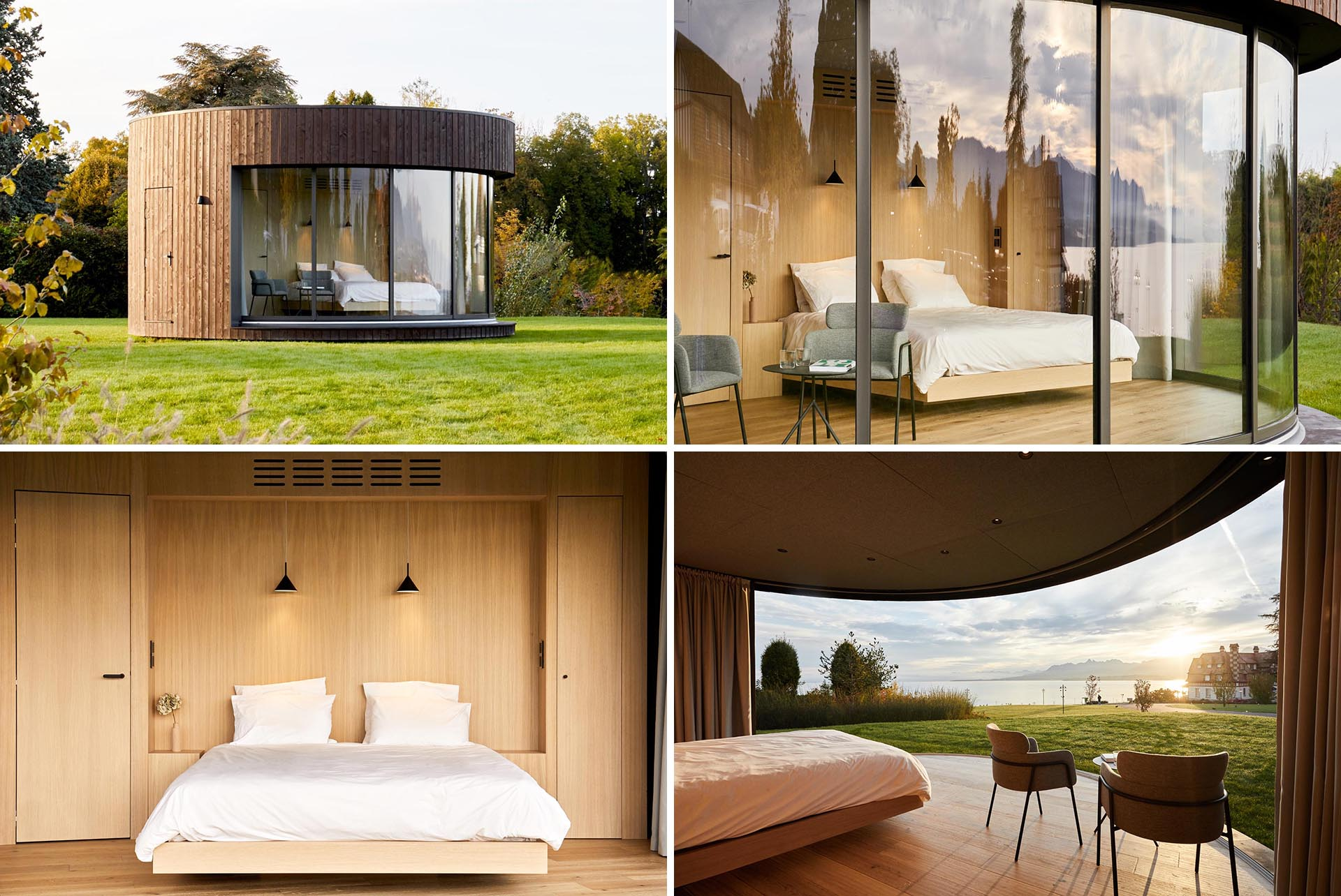 A small round cabin includes an exterior of vertical dark wood, a large glass wall that can be opened, as well as a bedroom and a bathroom.