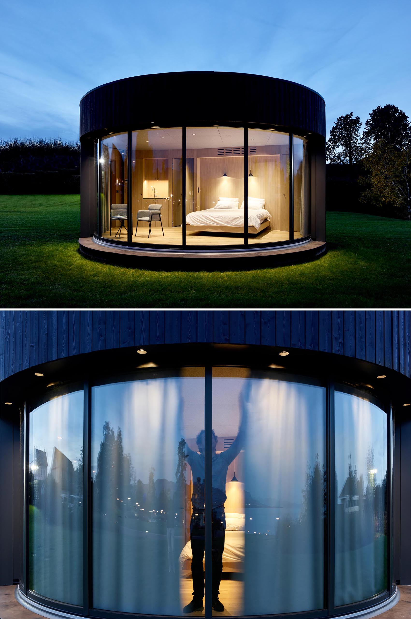 A modern round cabin with a curved glass wall.