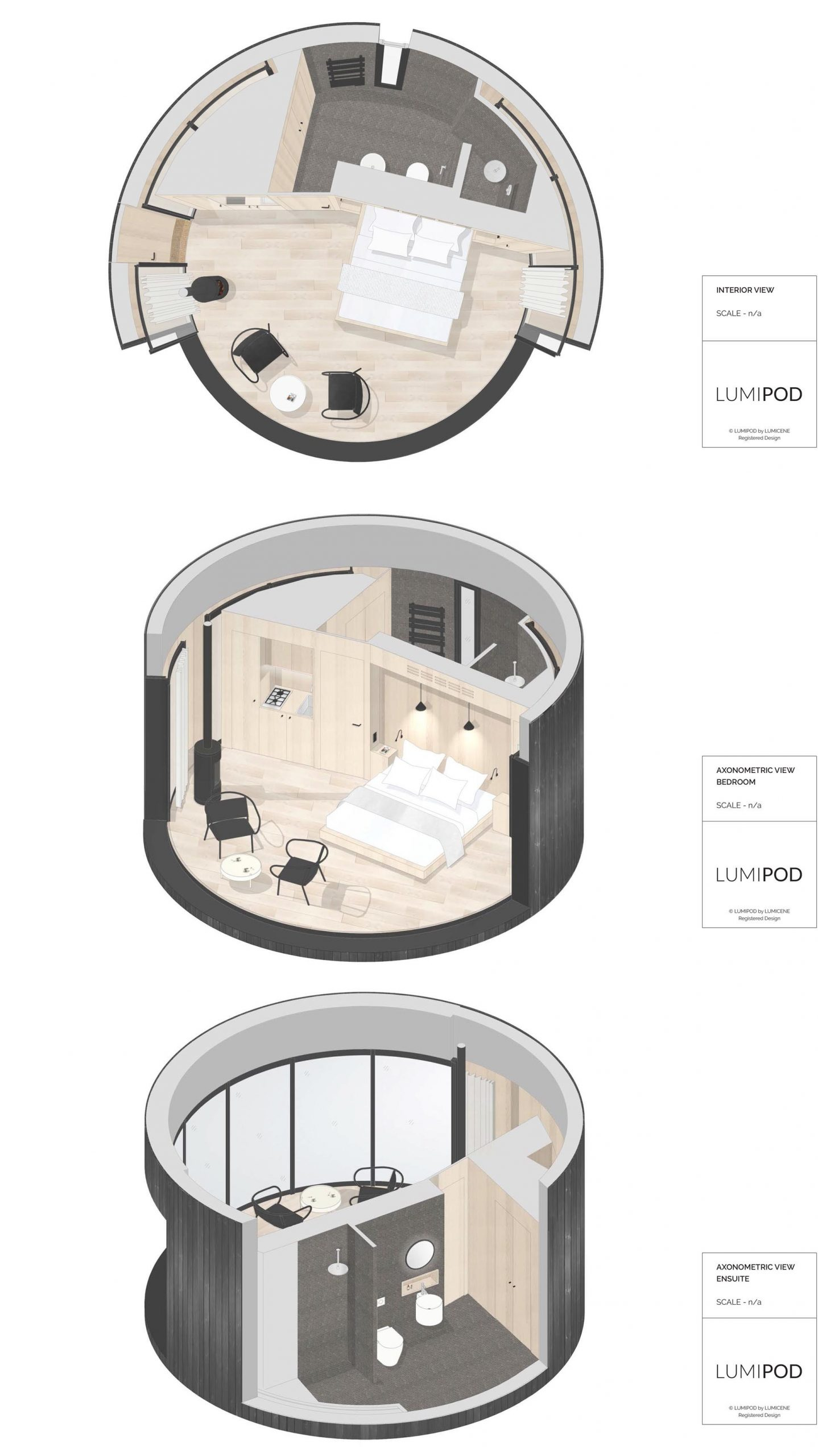 A small round cabin includes an exterior of vertical dark wood, a large curved glass wall that can be opened, as well as a bedroom and a bathroom.