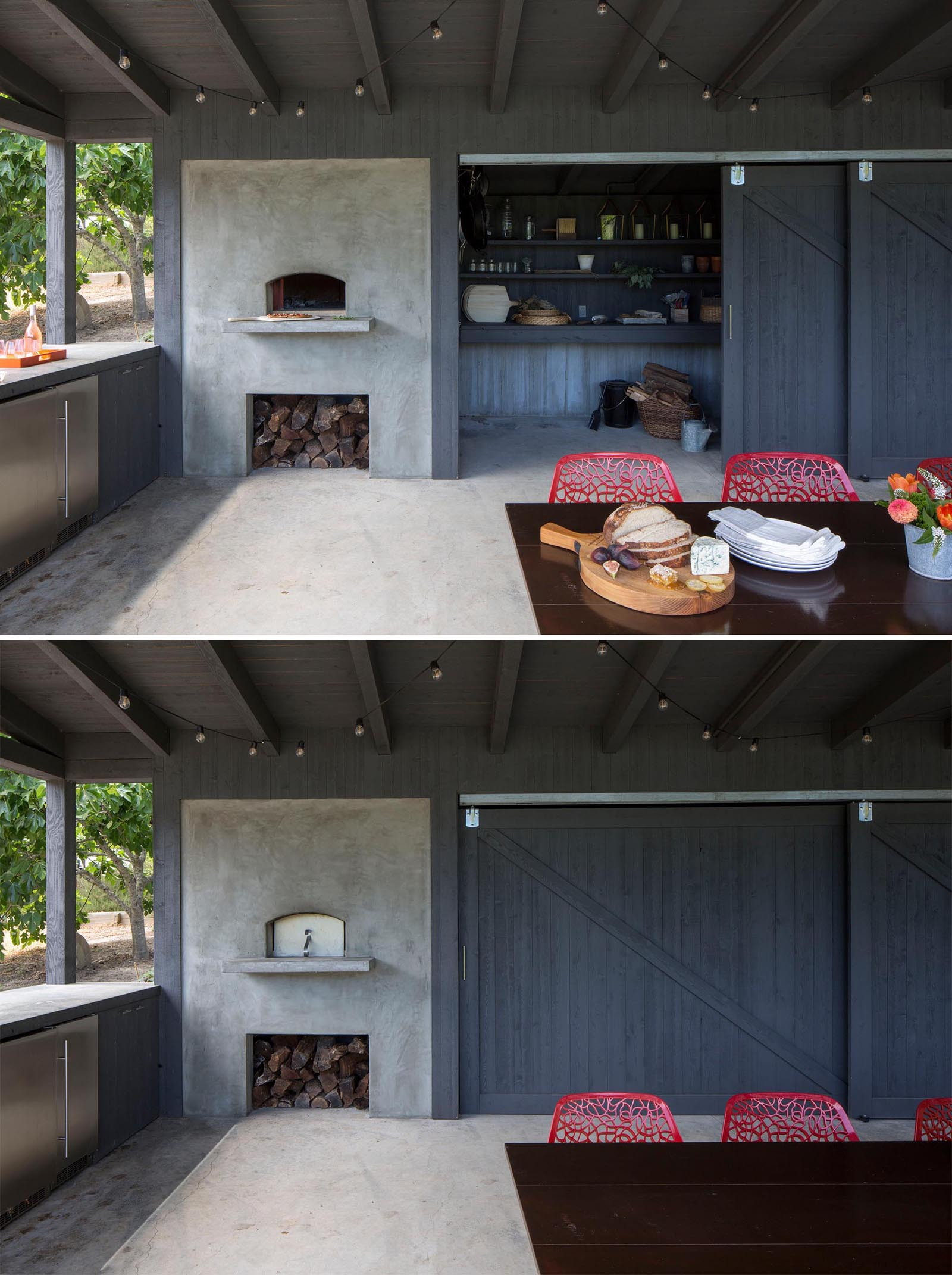 An outdoor pavilion includes dining area, a kitchen area with fridges, a pizza oven and firewood storage, as well as a separate space for storing garden items. This small room can be hidden from view by the large sliding barn doors.