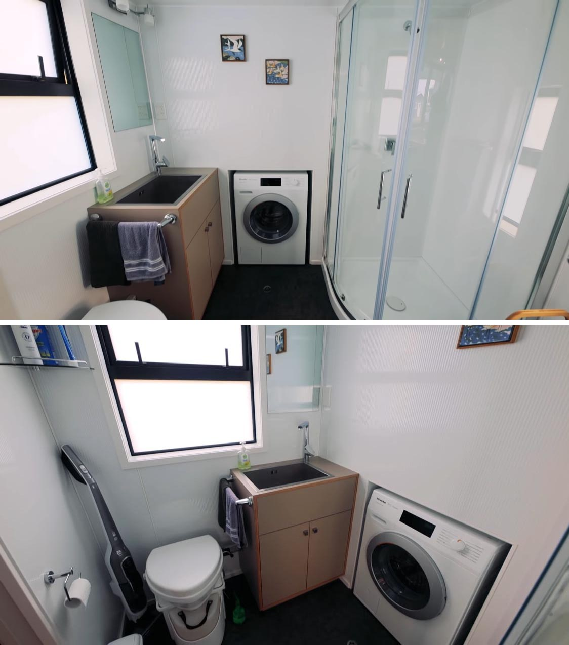 This modern tiny home bathroom includes a shower with curved surround, a washing machine, vanity, and toilet.