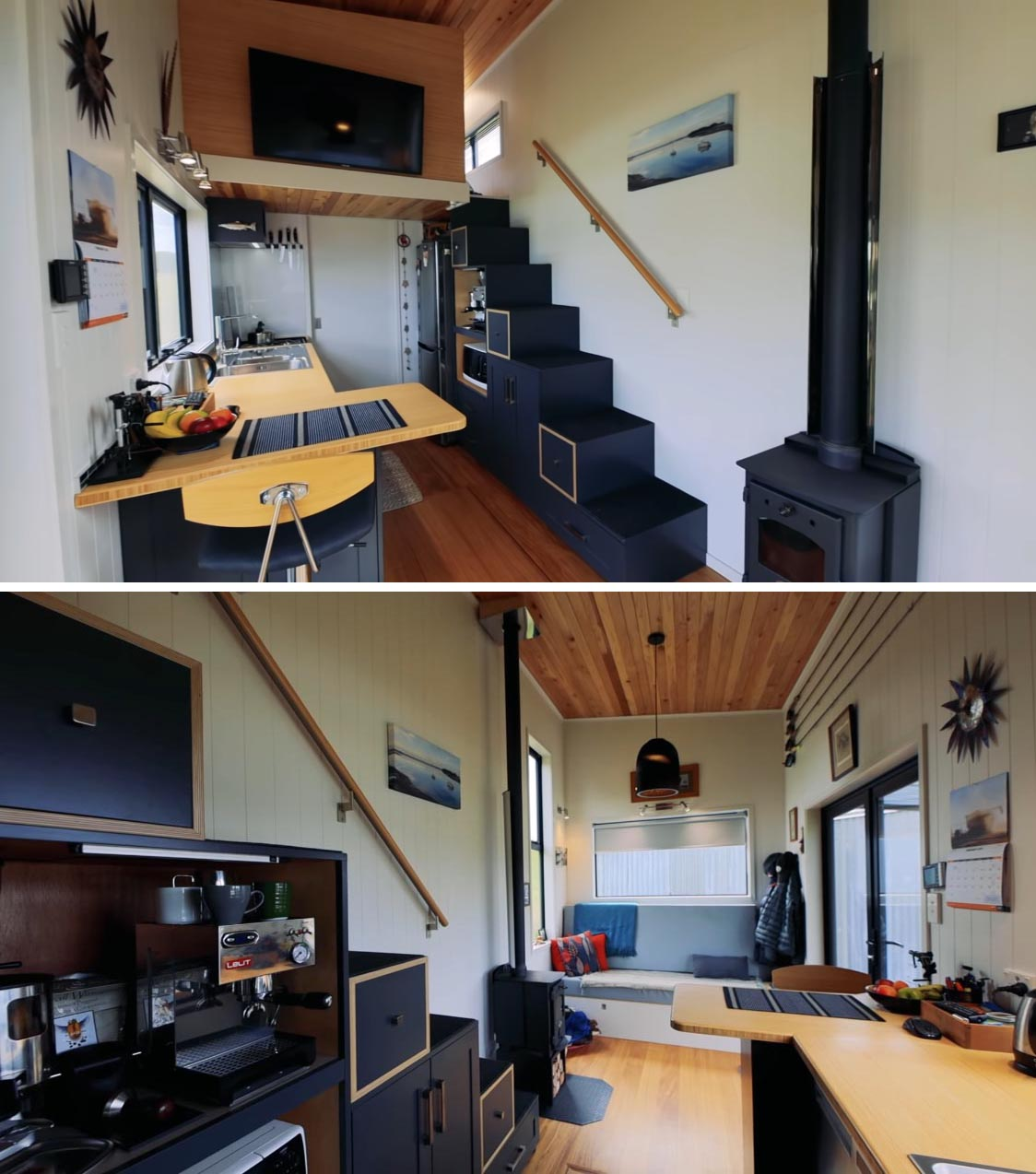 In this modern tiny home kitchen, there's plenty of storage, a stove and microwave, a dishwasher, and a full size fridge. There's also in floor storage and soft-close cabinets and drawers.