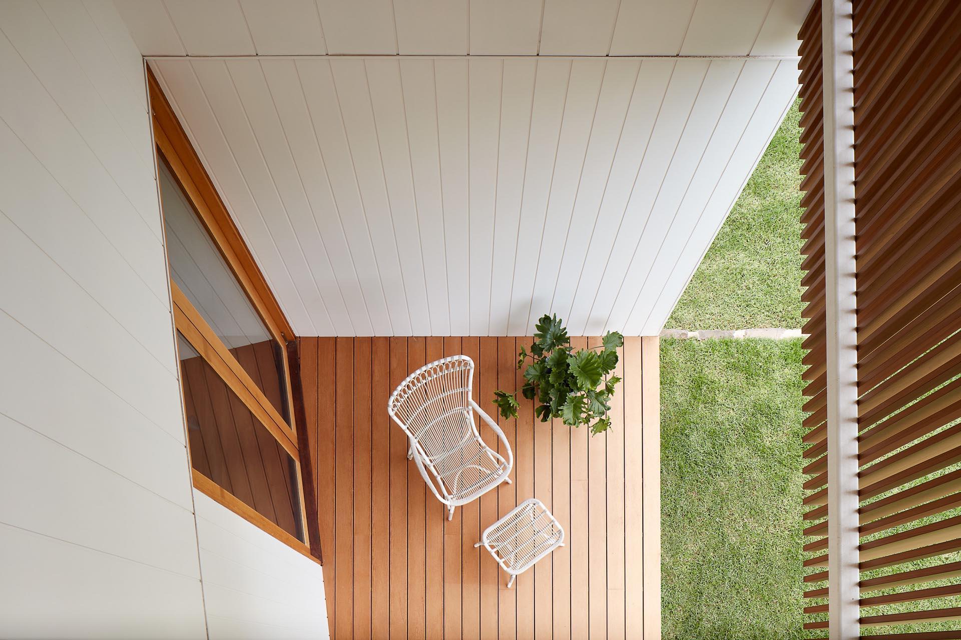 A modern wood deck.