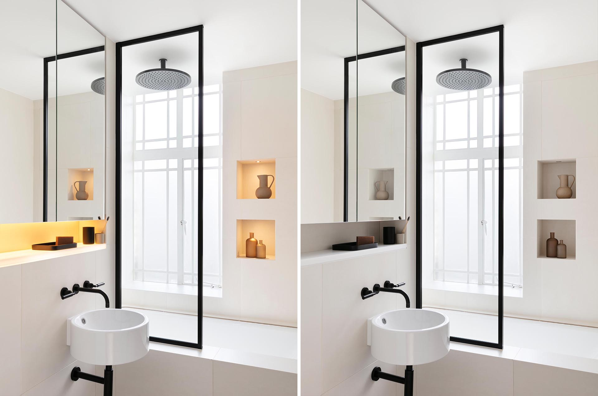 This remodeled bathroom received a black and white art deco feel to resemble the age of the apartment. The vanity area has a small recessed shelf with hidden lighting, while in the shower, small spotlights highlight the items on the shower niches.