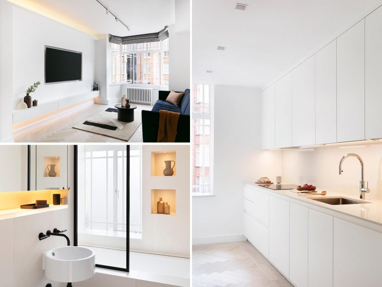 LED Lights Create Subtle Lighting Accents Throughout This Remodeled Apartment