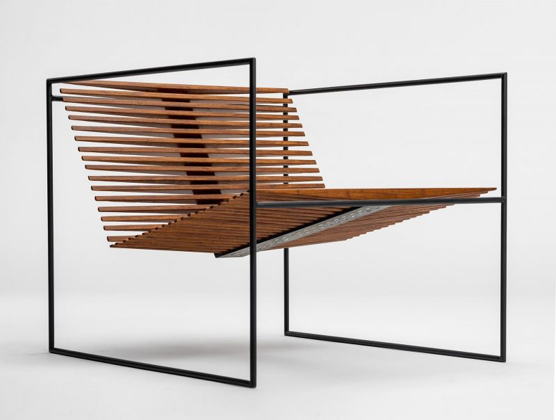 Japanese minimalism and the use of negative space are the main inspirations for this armchair, which is constructed from recycled solid steel and repurposed bamboo hardwood flooring.