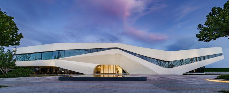 Located in China, the design of this building is inspired by the image of Ruyi, a ceremonial sceptre, as the name implies, everything goes well, is the traditional auspicious object for Chinese people.