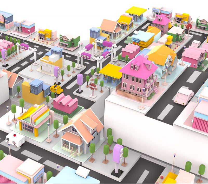This is a micro-city toy blind box design. One of the features of this design is that the package is also a part of the toy. One side of the box is recessed in the shape of a cross, L, straight line, and T, so the containers become the micro-city land and route.