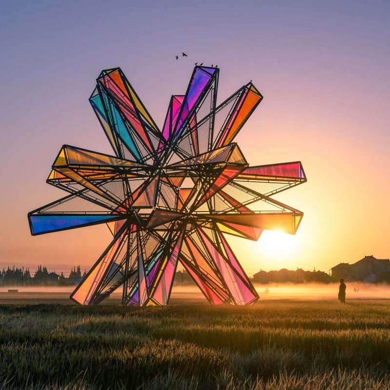 Pop Star is a sculptural installation based on the geometric shape of the icosahedron.