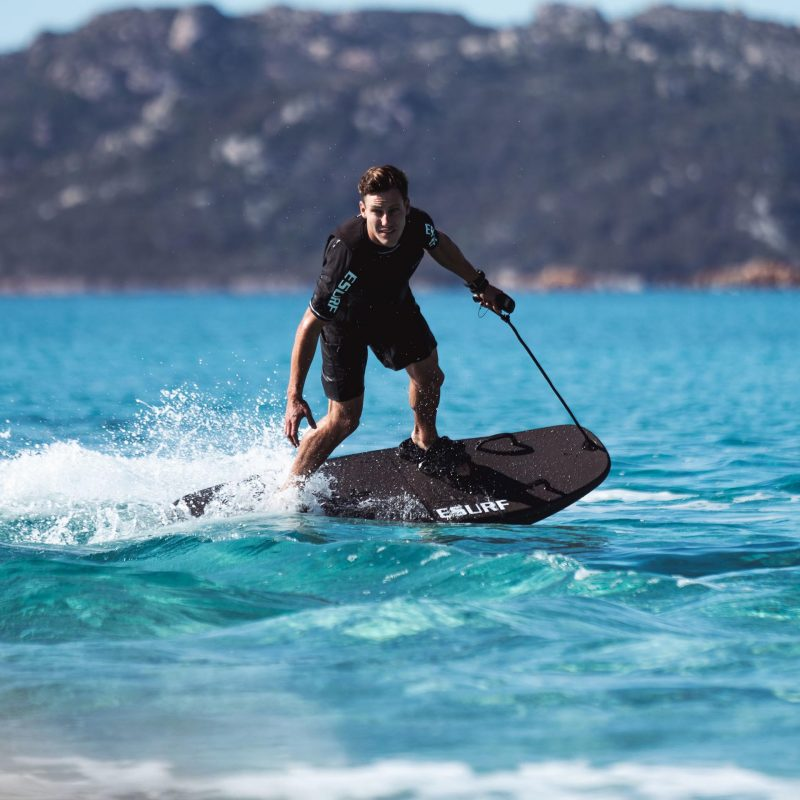 The Esurf was inspired by a combination of multi sports, a mix of surfing, wake boarding, motorbike, snowboarding.