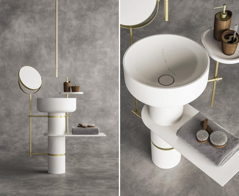 TuttoTondo is a marble washbasin made up of 3 modules for the column and an element for the washbasin. These components are joined together by steel ferrules which, in addition to ensuring the tightness of the modules, allow the application of a series of accessories, mirrors, shelves and containers, specially designed for the system.