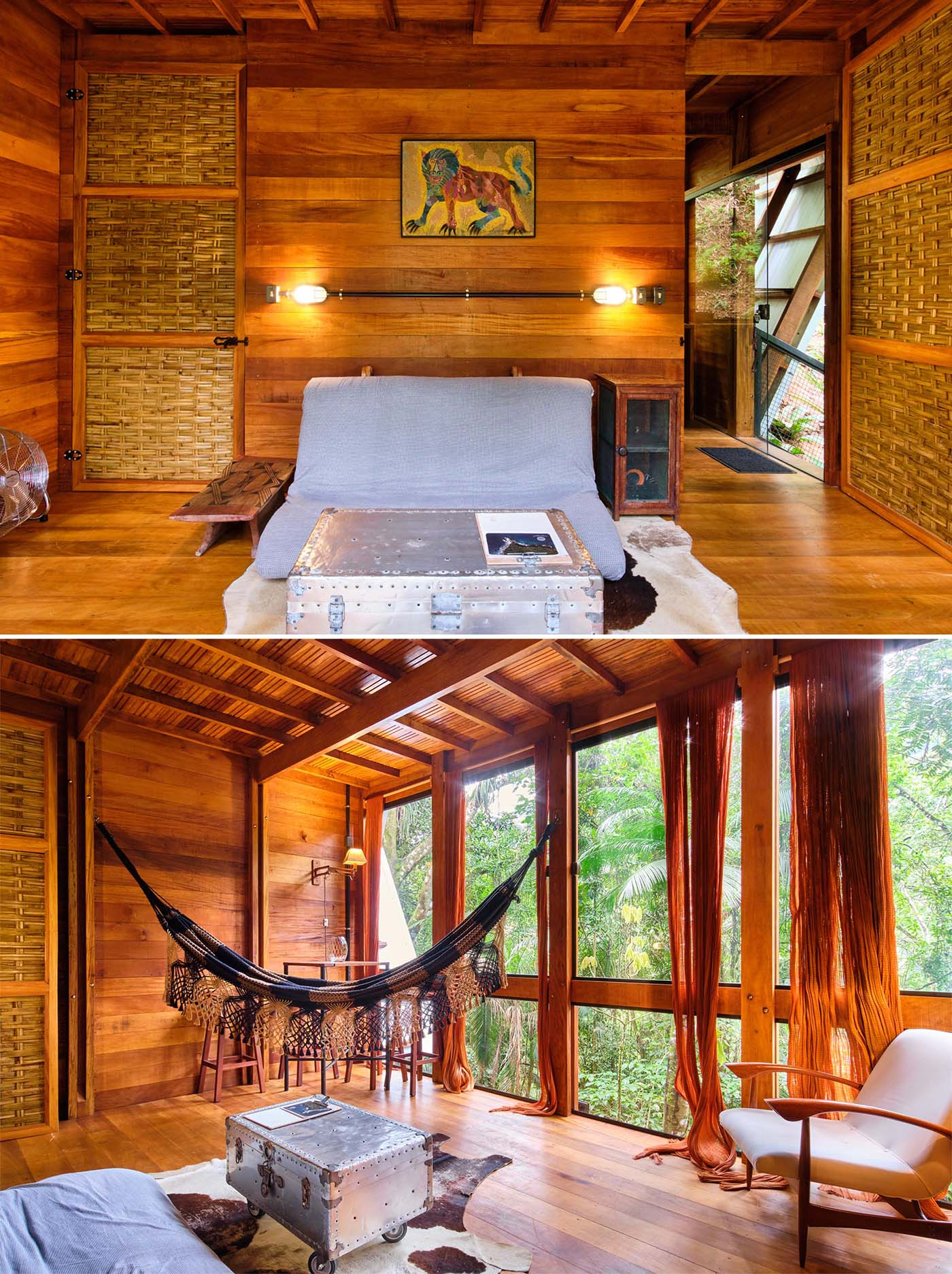 The living room and dining area of an A-frame cabin with a warm wood interior.
