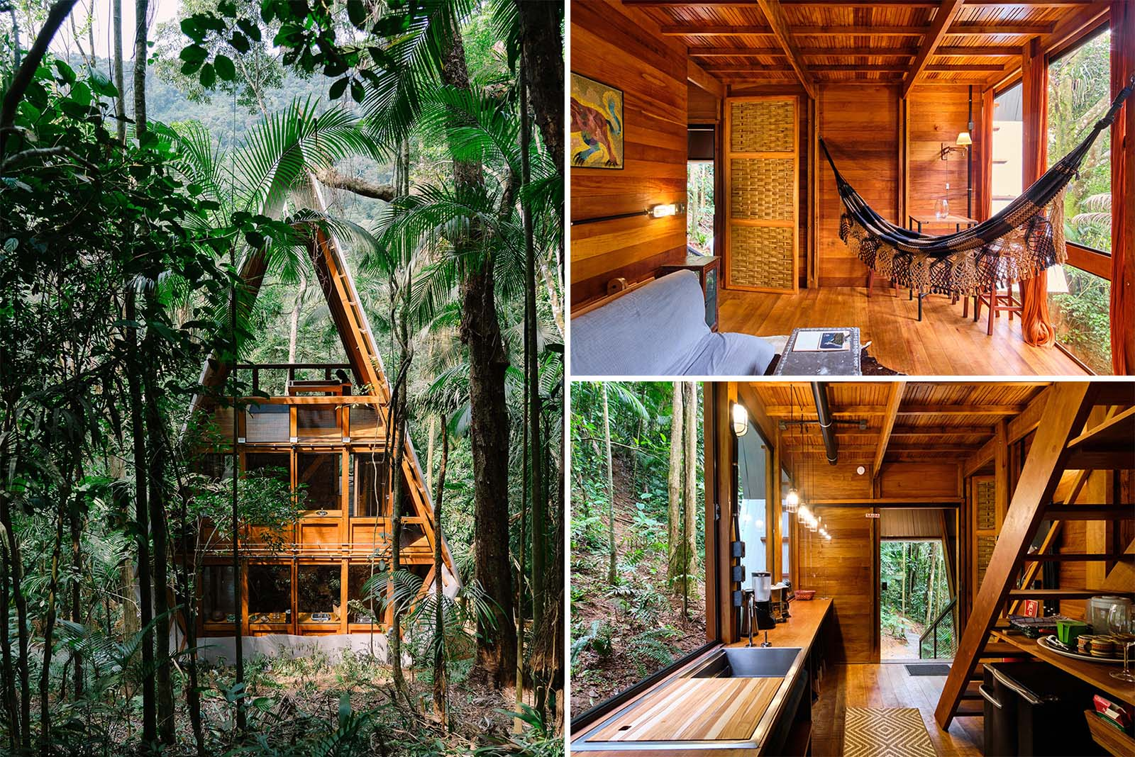 An A-Frame cabin in the forest with a warm wood interior.