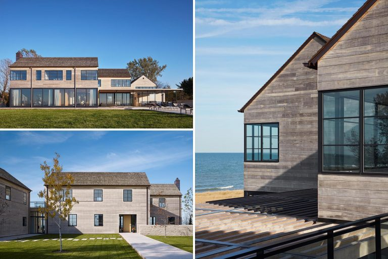 Accoya Wood Siding Creates A Weathered Look For This Lakeside Home