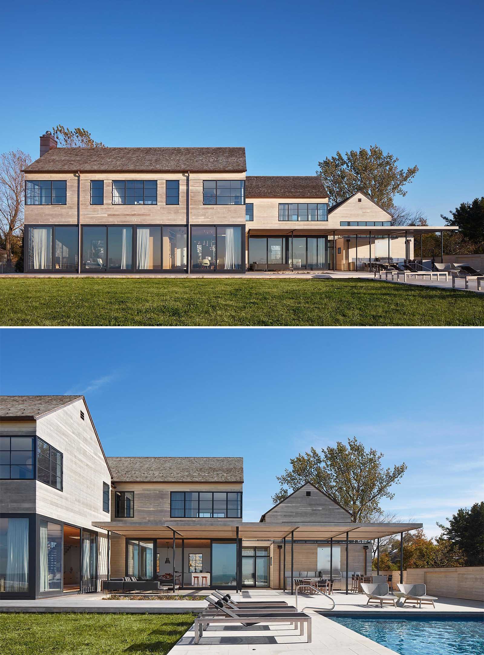 The Accoya wood siding of this modern home complements the cedar shingles that have been used on the roof, both of which will weather gracefully in the constant wind coming off the lake.