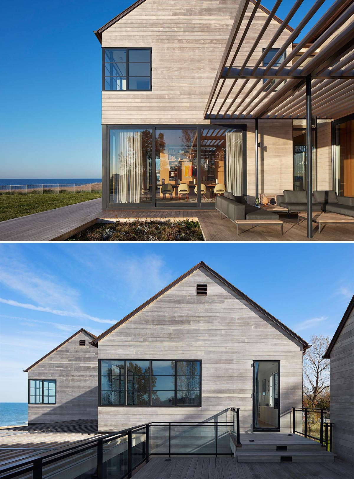 A modern house with Accoya wood siding, black window frames, wood roof shingles, and a swimming pool.
