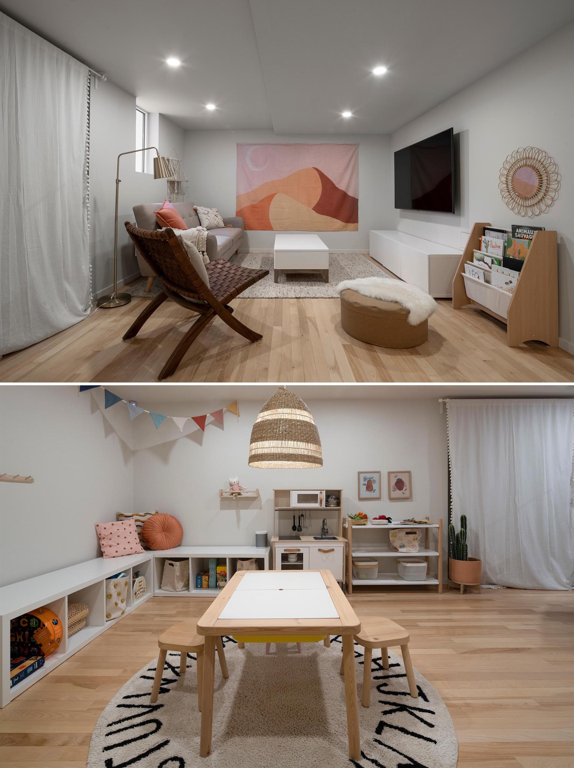 A modern basement with a combined TV room and playroom.