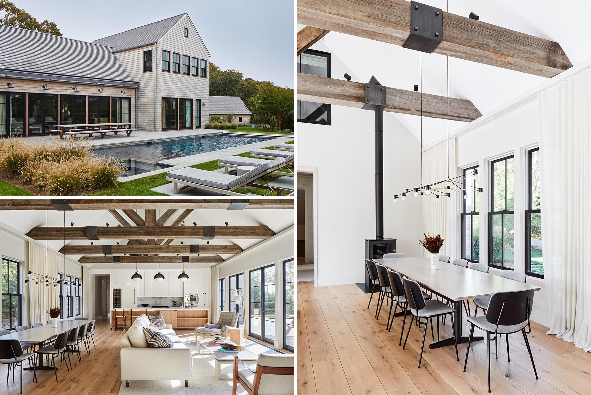 This modern farmhouse inspired home has a wood shingle exterior, and a great room with wood beams.