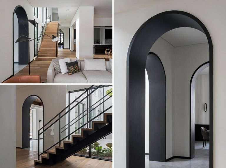 Matte Black Lined Archways Complement Other Black Accents Throughout This Interior