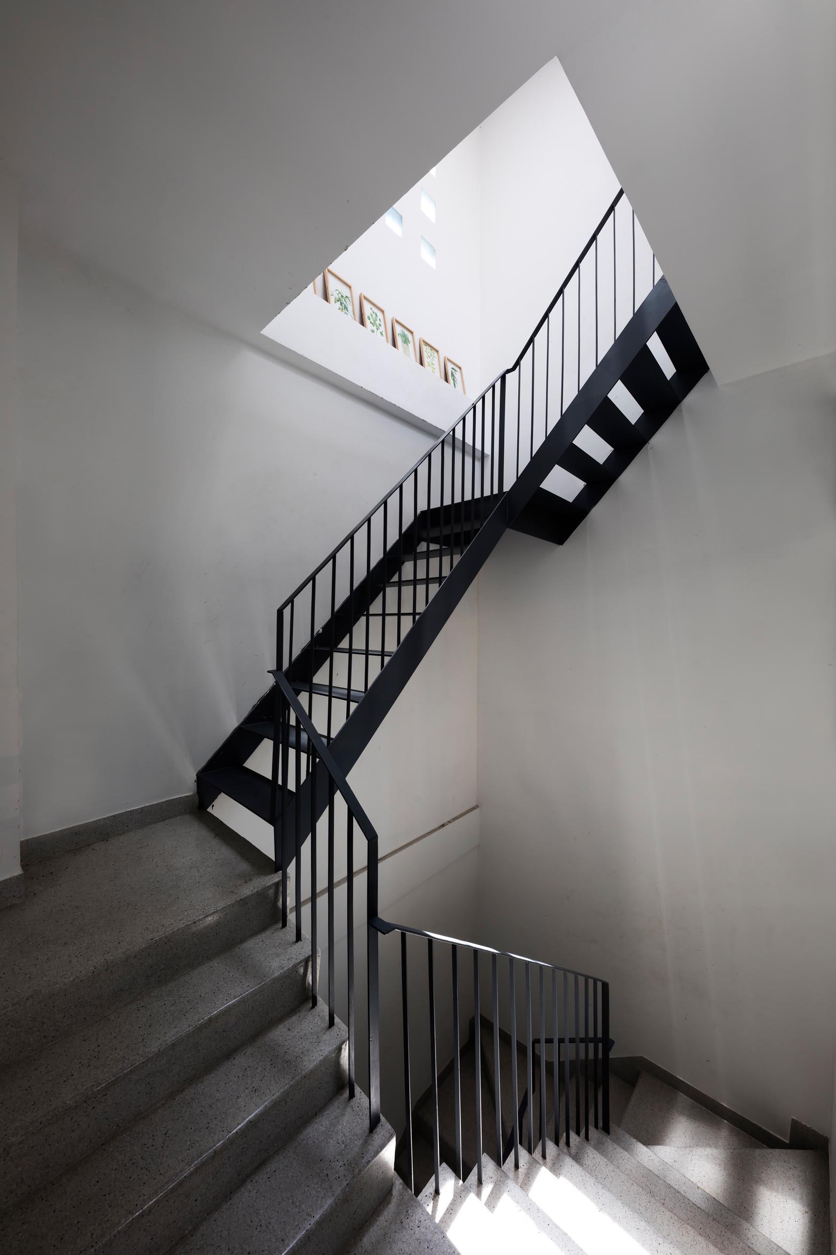 Modern black steel stairs.