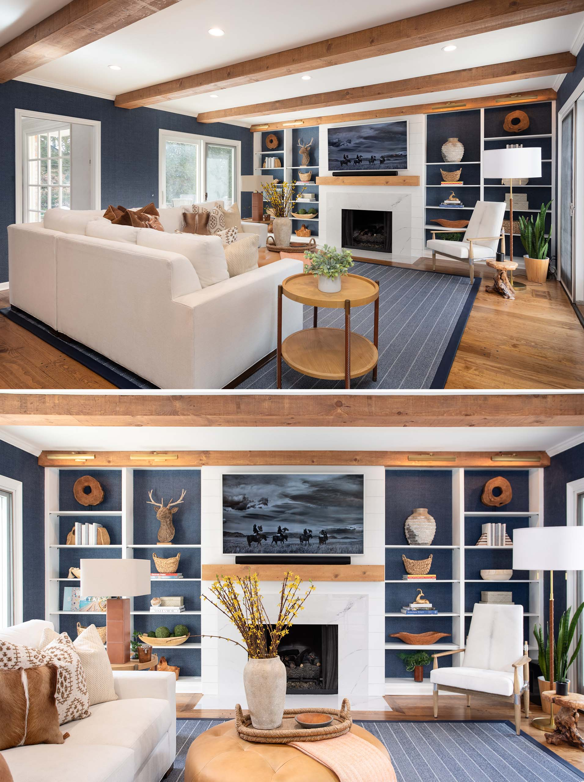 A contemporary living room with a fireplace, plenty of shelves, and walls lined with blue grass, cloth wallpaper.