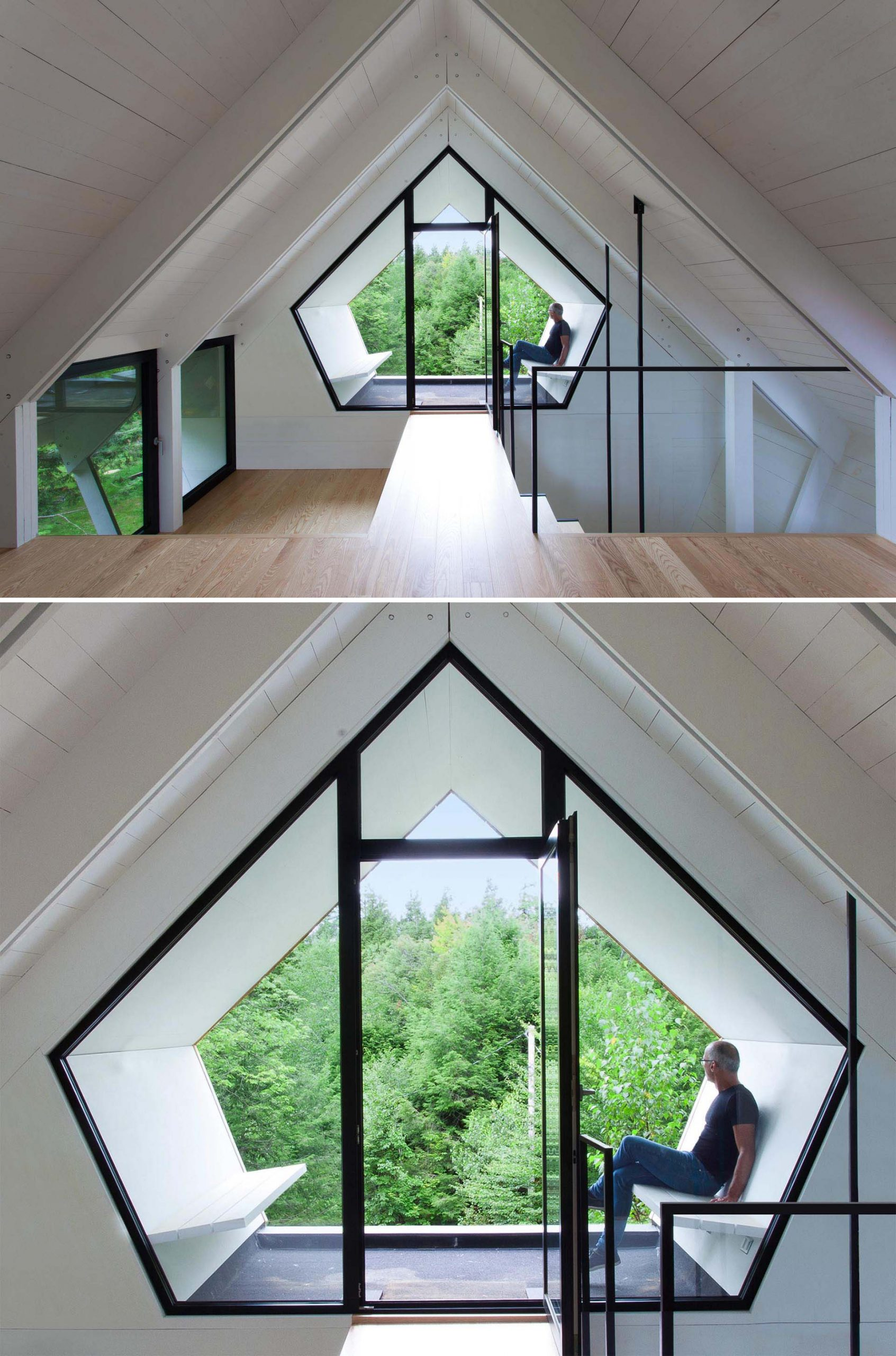 From inside the cottage, there's a wood walkway that leads to a pentagonal shaped window with a door in it. The door opens to provide access to the seating that's positioned to take advantage of the different views.