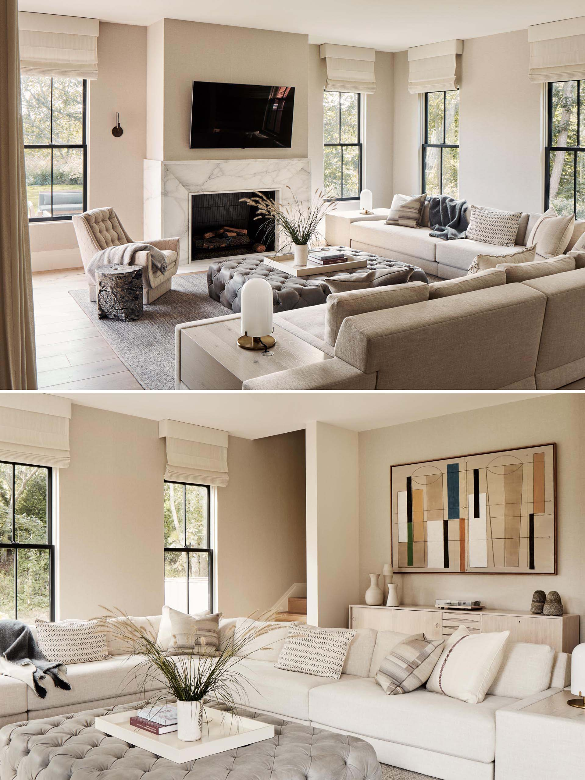 This family room with a neutral color palette includes a fireplace and an L-shaped couch for comfortable movie nights.