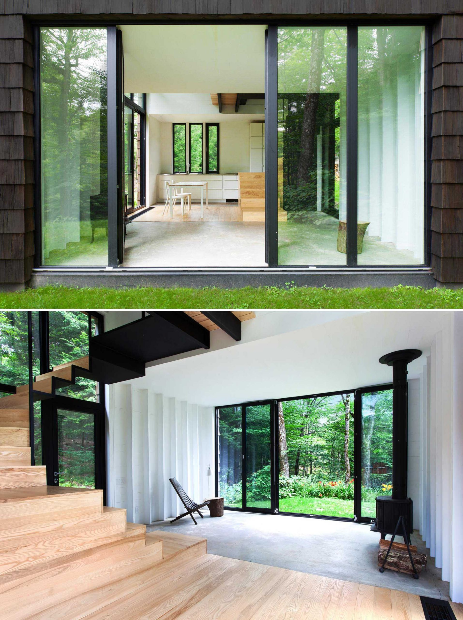 A small cottage with a minimalist design, concrete floors, and wood accents.