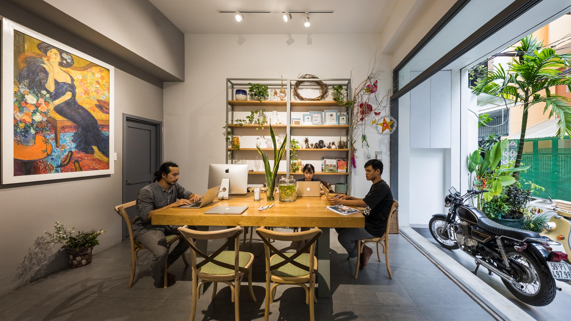 A co-working space on the ground floor of a home.