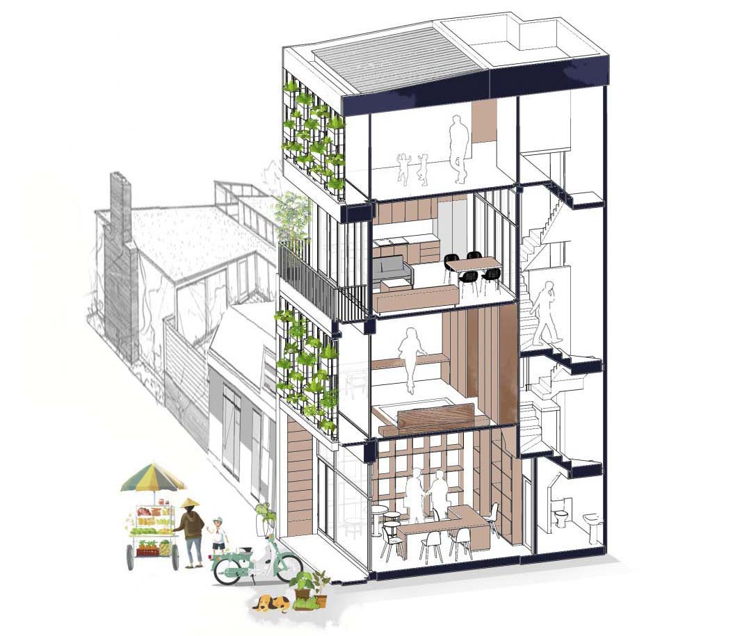 A four storey home with built-in planters on the facade.