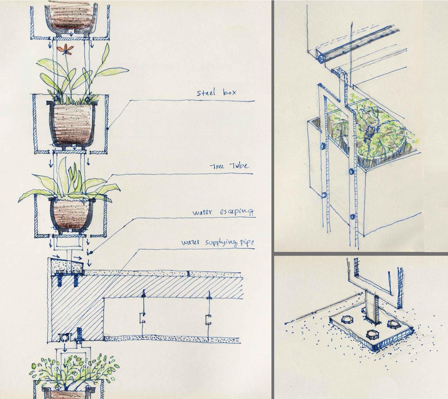 A modern plant system that adorns the facade of a home.