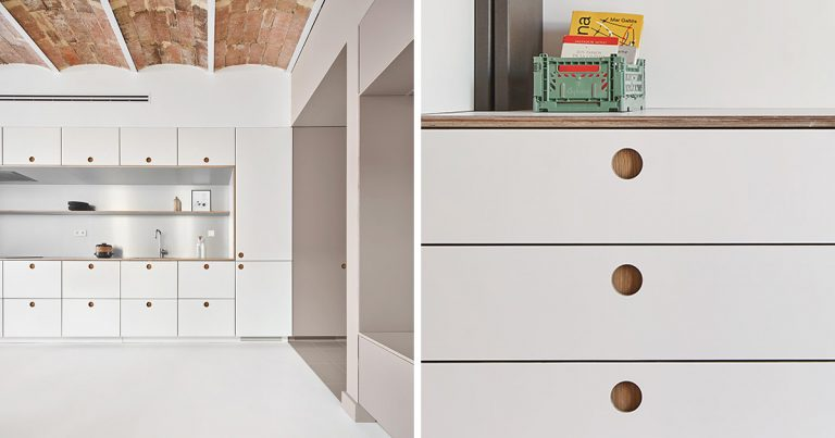 Recessed Finger Pulls Replace The Need For Cabinet Hardware Throughout This Apartment Interior