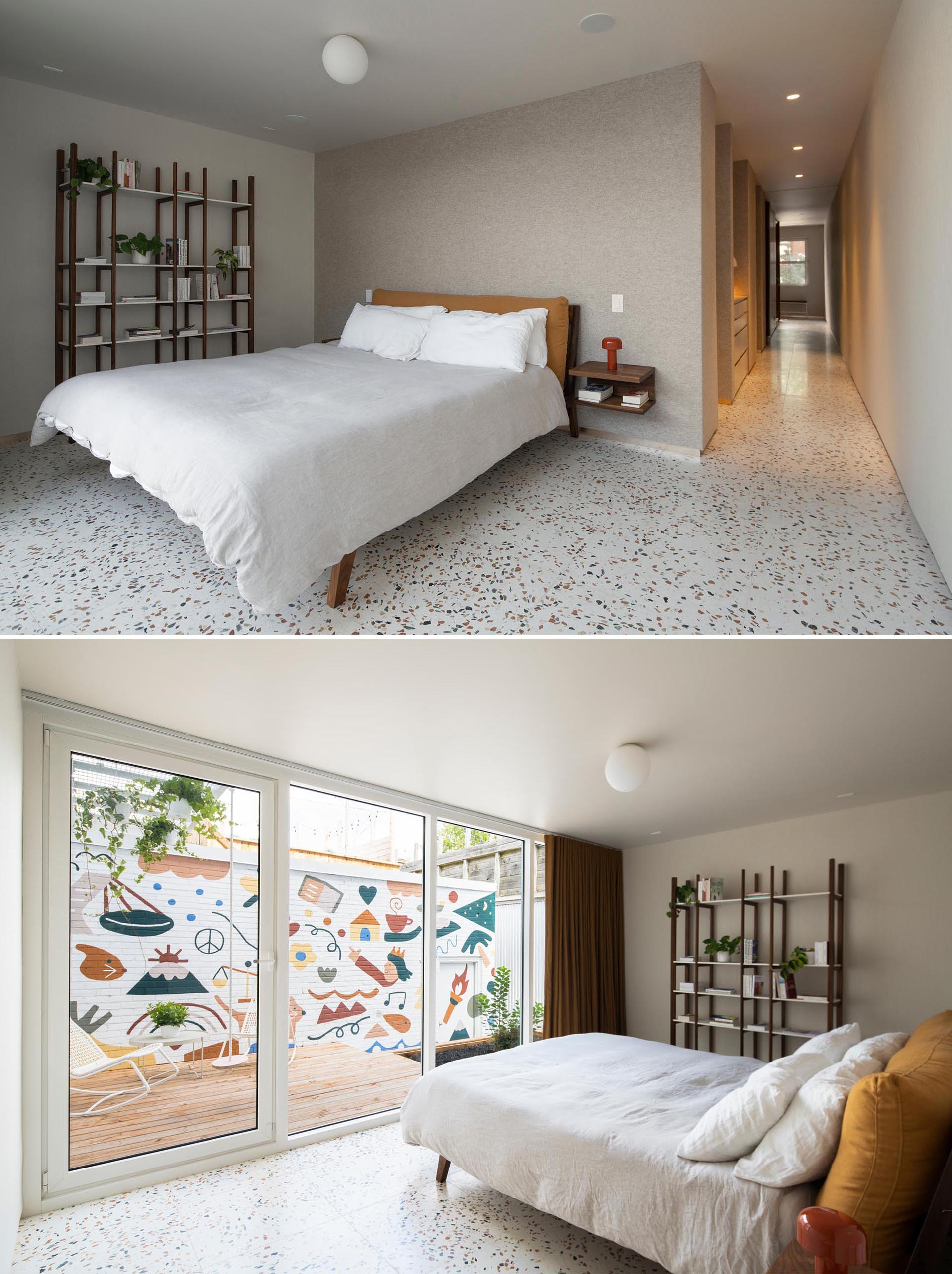 Terrazzo tile floors flow through to this modern master bedroom, that features minimal furnishings and a glass door that opens to a private courtyard with fun and colorful mural
