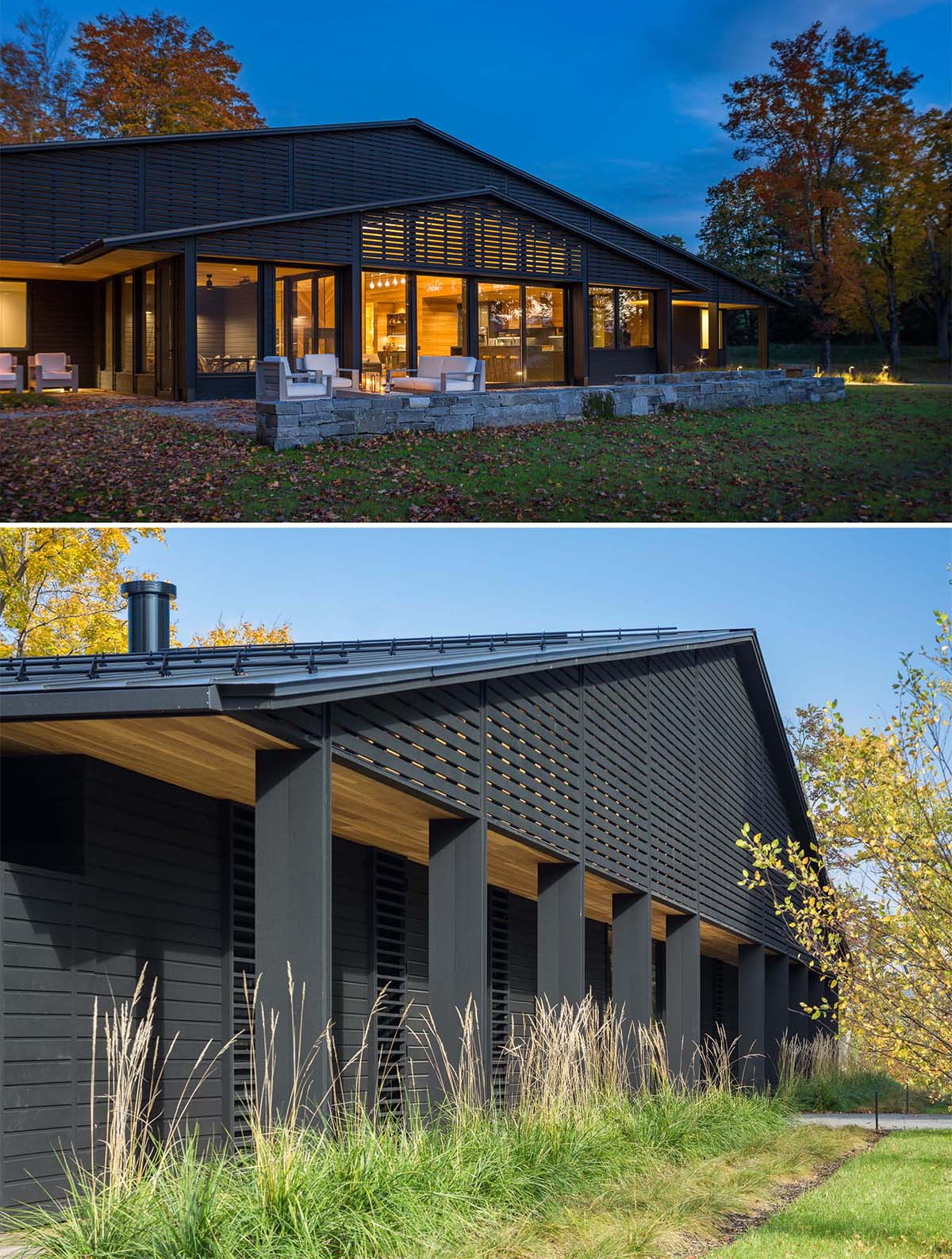 A modern house with black exterior siding and a black metal roof.