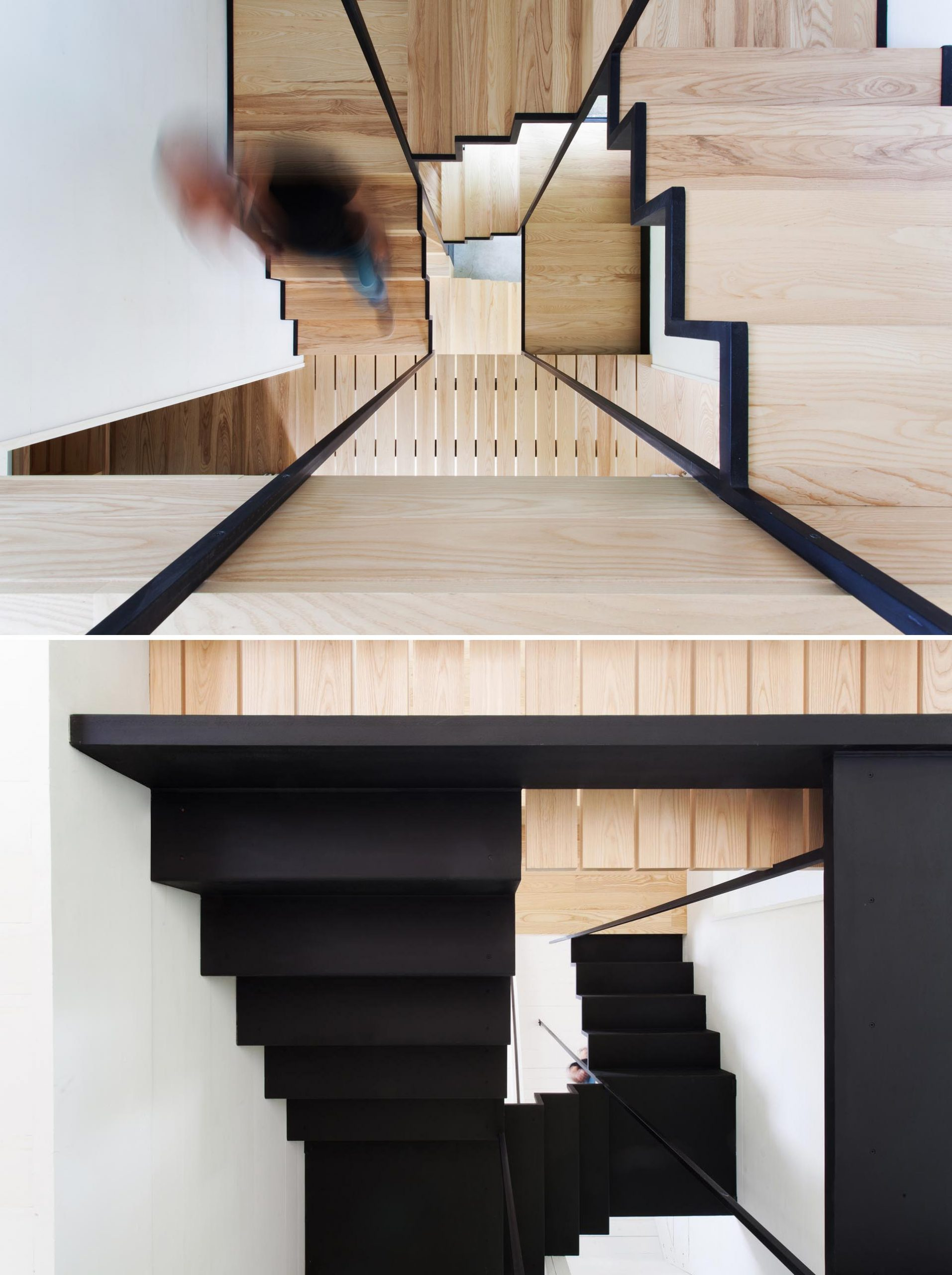 Modern black and wood stairs.