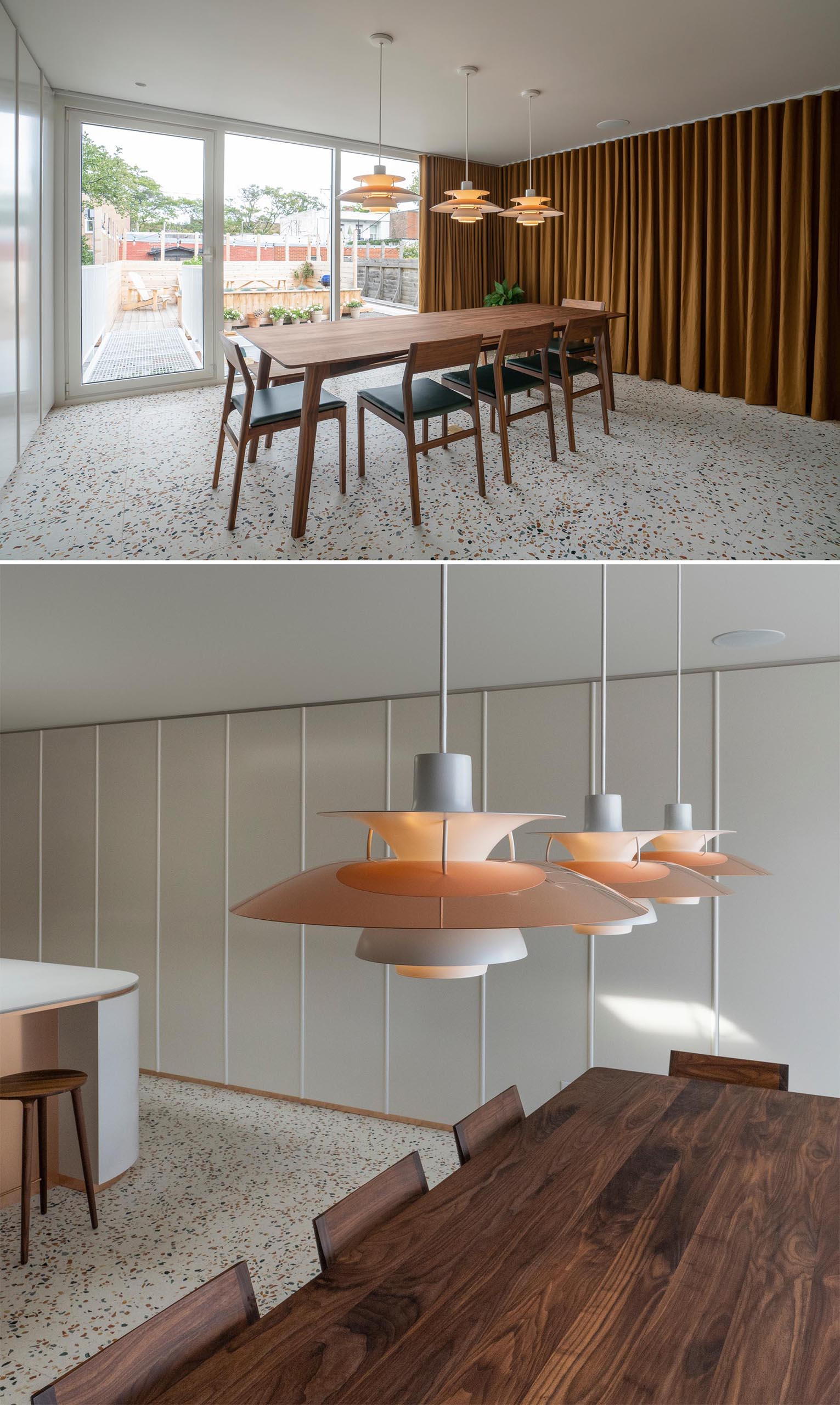 A modern dining room with a terrazzo tile floor.