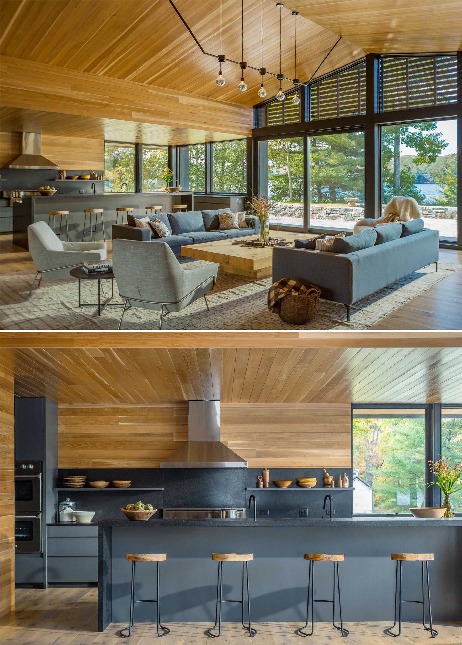 An open plan living room and kitchen that have large sliding glass doors that open to a patio.