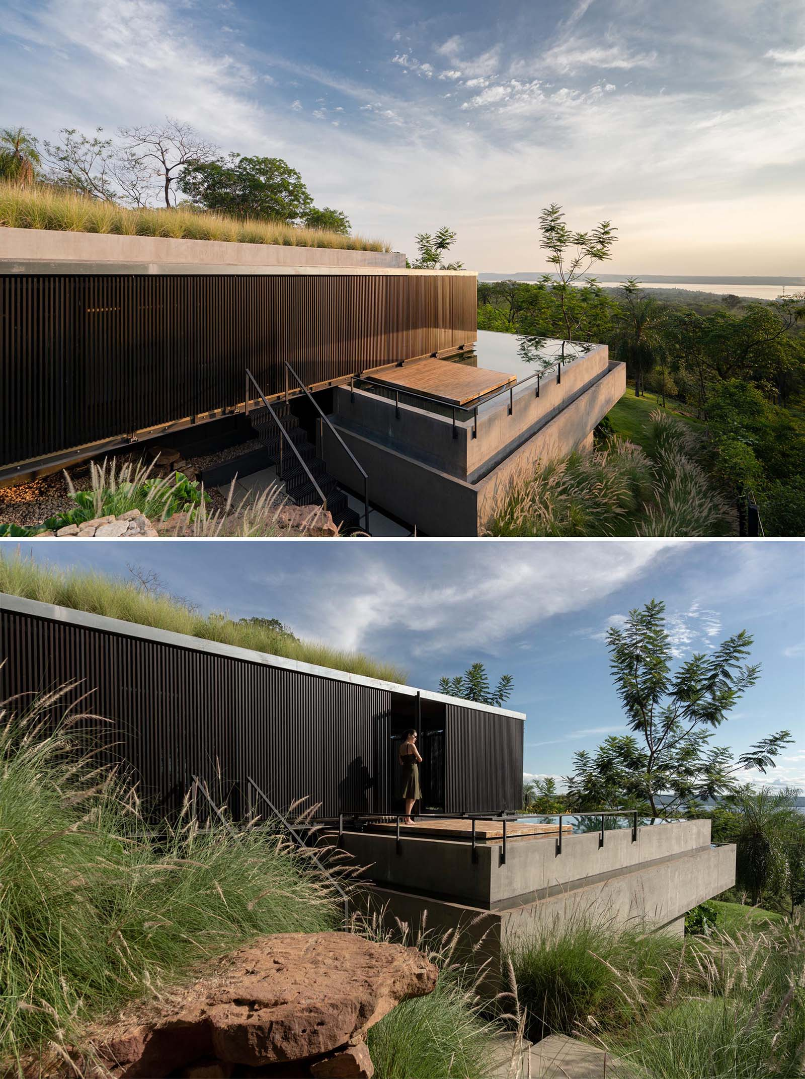 A modern house with a green roof, an infinity edge swimming pool, and black screens that wrap around the exterior.