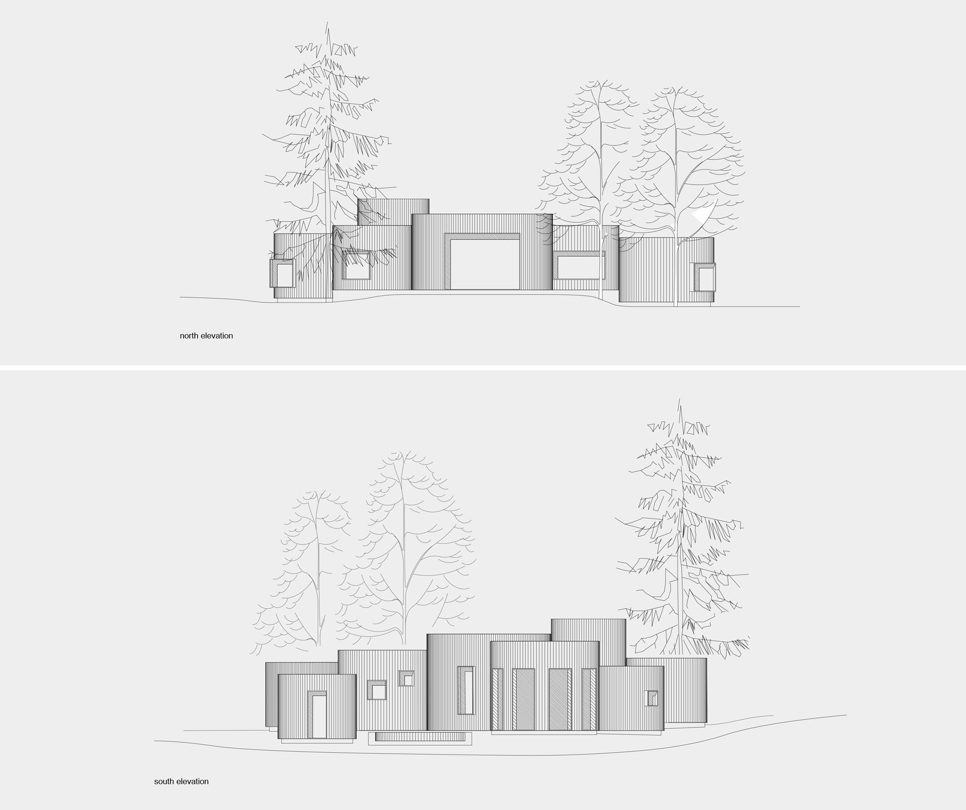 A modern house with a wood exterior and curved rooms.